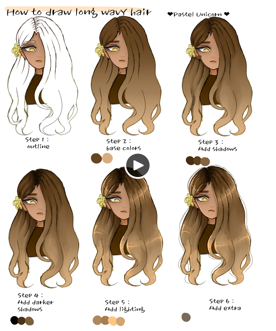 Comment Dessiner Les Cheveux Ondules Licorne Pastel Illustrations Art Street Par Medibang Drawing Hair Tutorial Unicorn Illustration How To Draw Hair