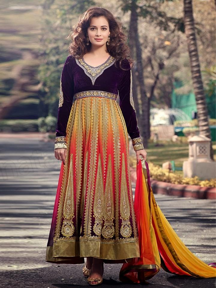 Latest And Exquisite Designs Of Anarkali Frocks For Girls With Dia Mirza By Natasha Couture From 2014-15