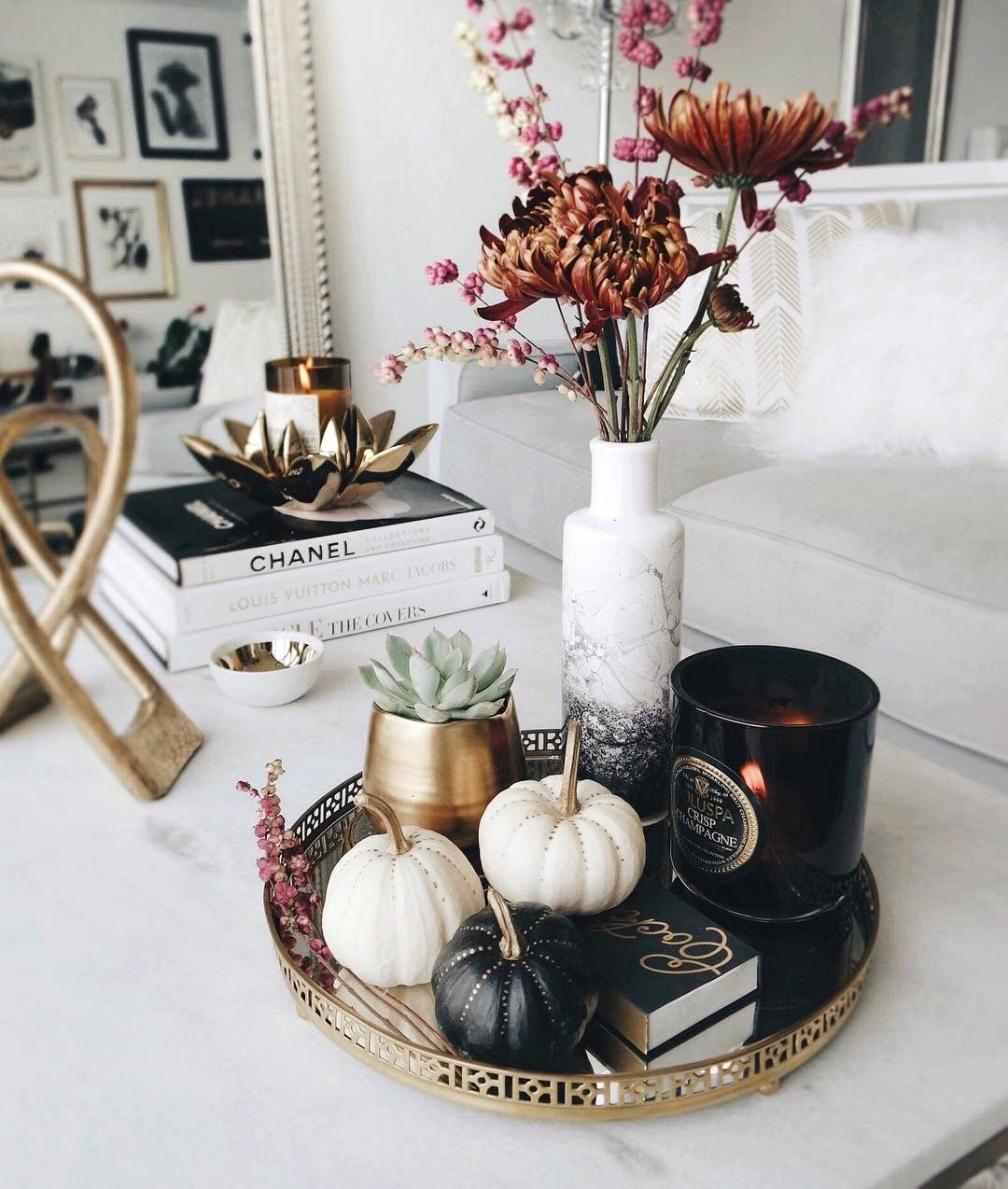 The perfect moody coffee table styling for Halloween and