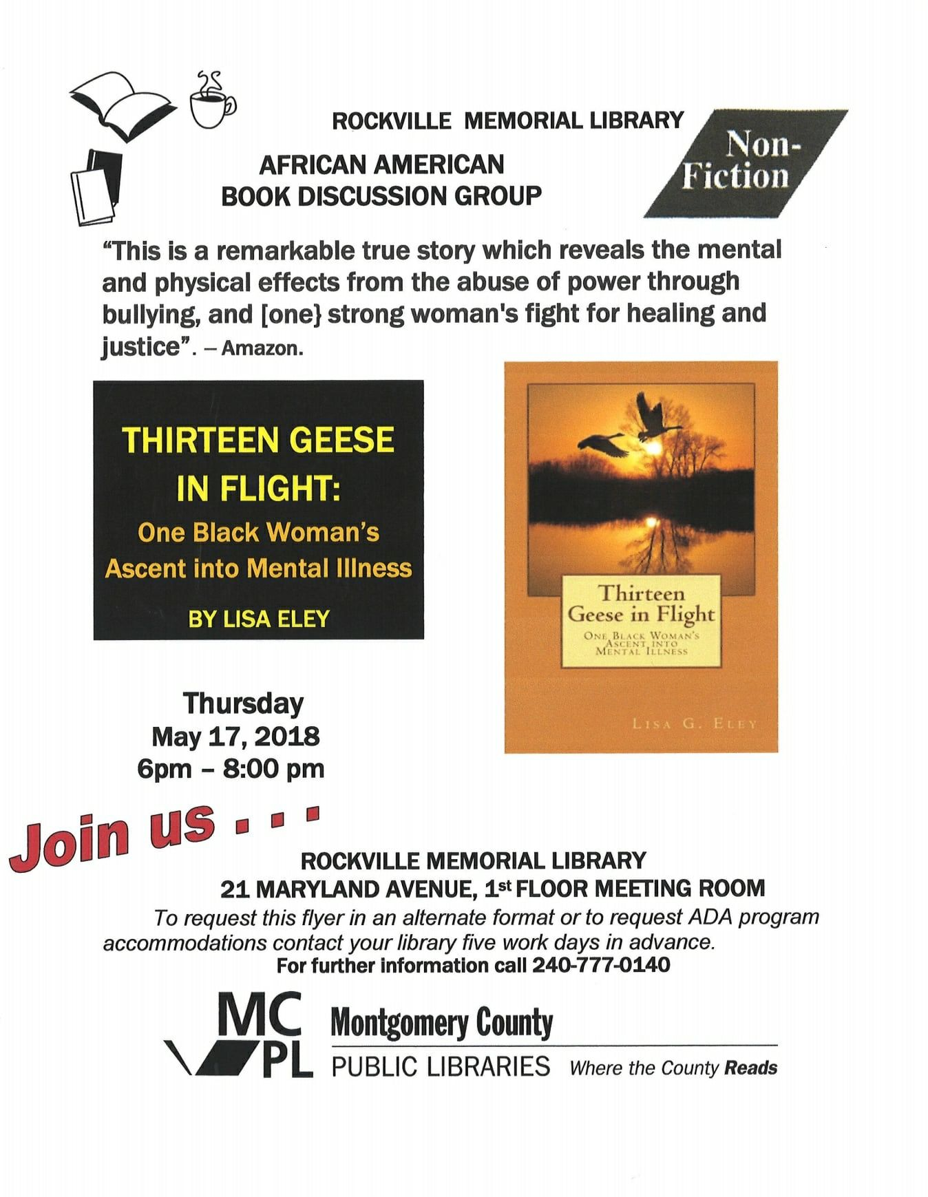Come Join The African American Book Discussion Group Of Rockville