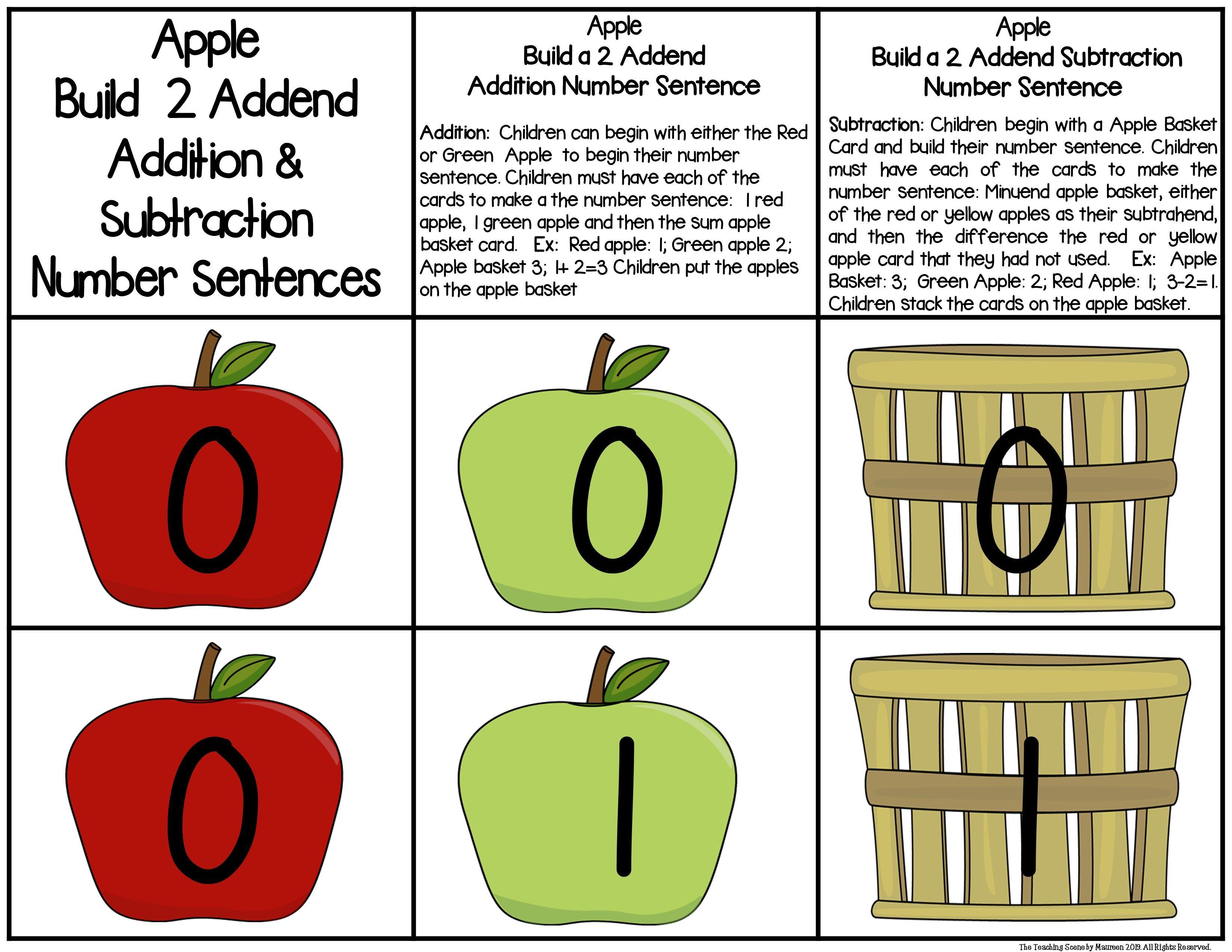 Apple Build 2 Addend 0 20 Addition Amp Subtraction Number