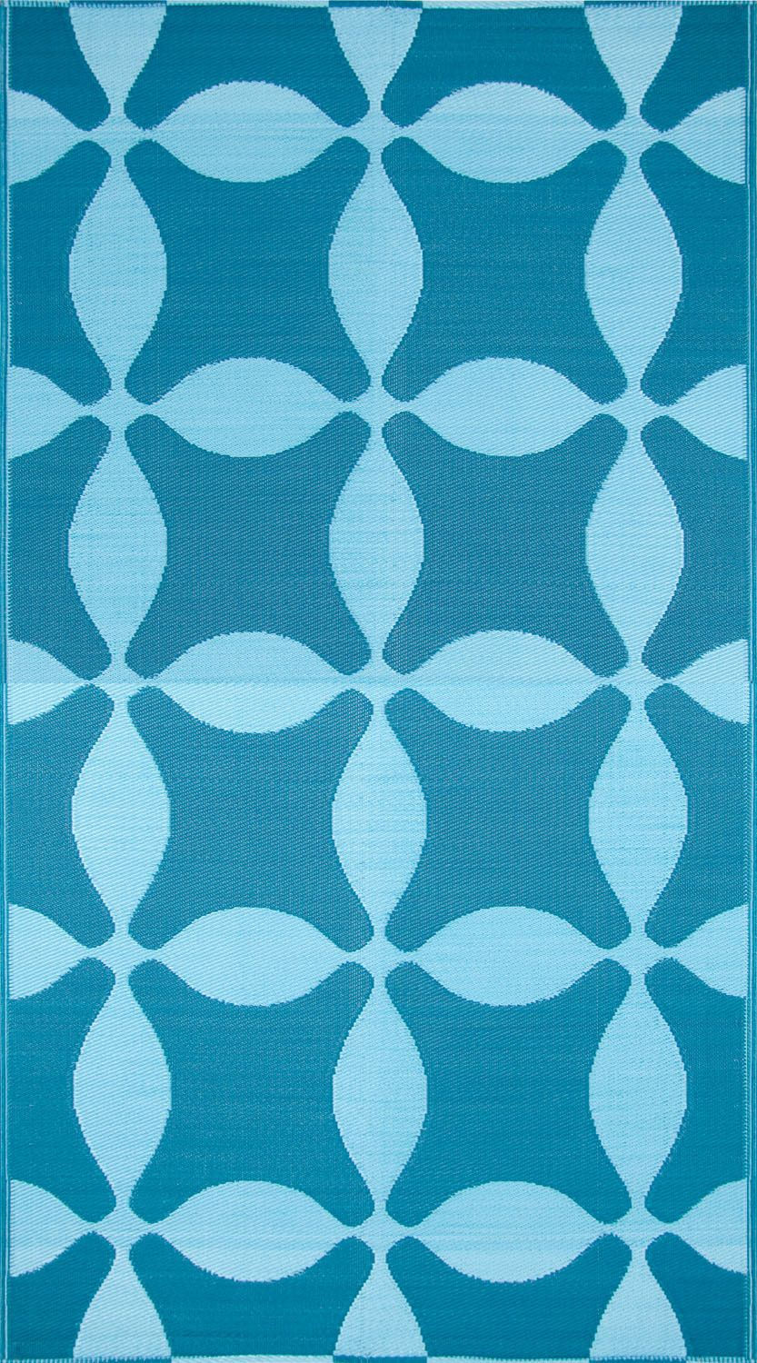 Koko Company Optic Teal Turquoise Outdoor Rug Rugs Outdoor Rugs Area Rugs