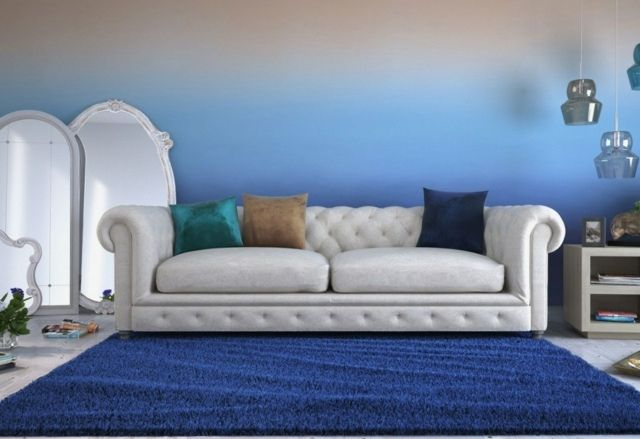 wohnzimmer wandgestaltung ideen beispiel ombre wand | coloriertes ... - Wohnzimmer Ideen Wandgestaltung Blau