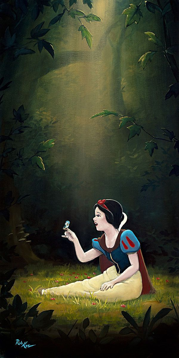 Details about Snow White Smile and a Song Rob Kaz LE 195 Canvas Signed Disney 30x15 #snowwhite