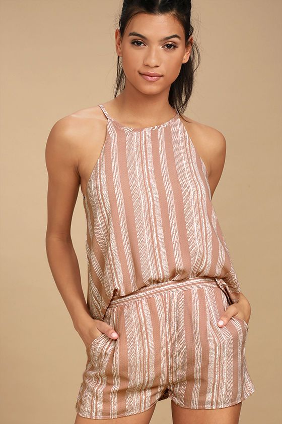 cb80c37ceb2f You re bound to turn some heads in the See You Smile Blush Pink Striped  Romper! A billowing sleeveless bodice