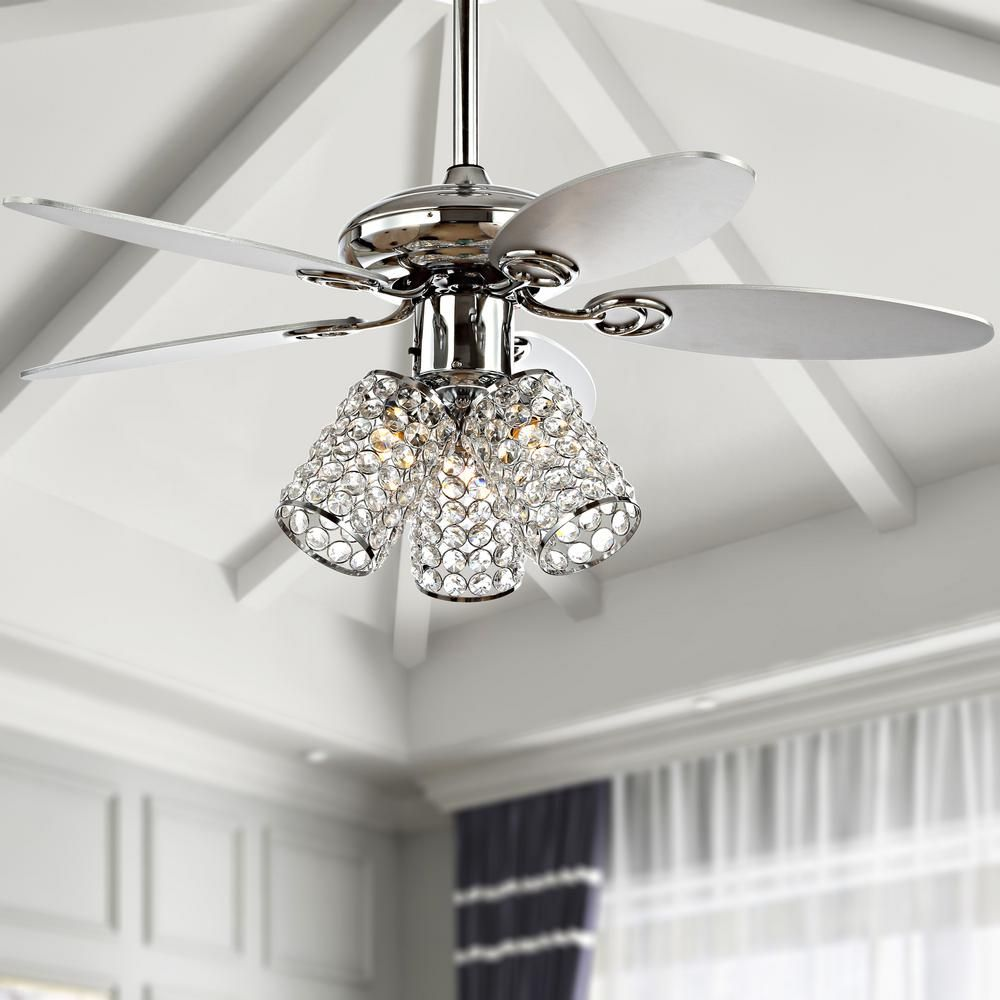 Jonathan Y Kris 42 In Chrome 3 Light Crystal Led Ceiling Fan With Light And Remote Jyl9705a The Home Depot In 2021 Ceiling Fan Chandelier Ceiling Fan With Light Ceiling Fan