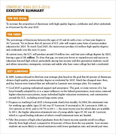 8+ Sample Executive Summary Resumes Sample Templates