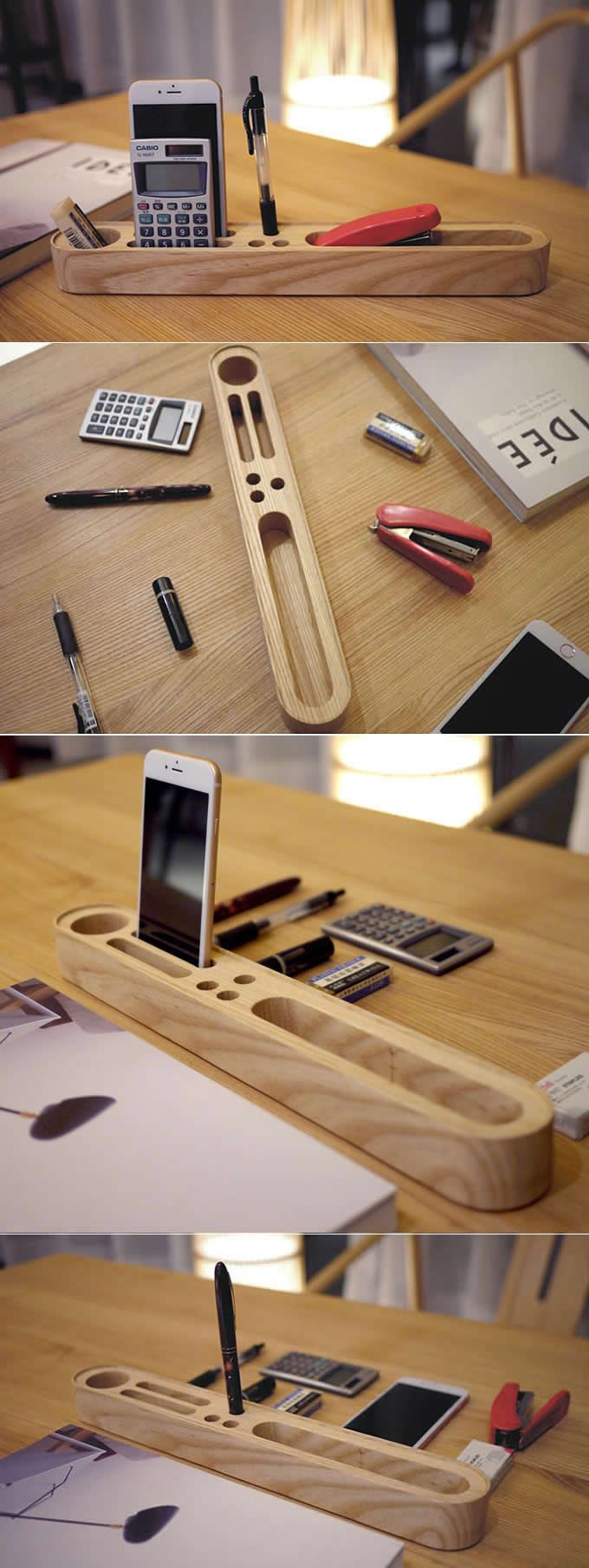 wooden office supplies desk organizer storage container phone stand holder pen pencil business. Black Bedroom Furniture Sets. Home Design Ideas