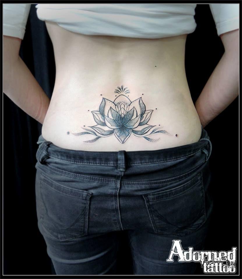 Lower Back Lotus Flower Blackwork Dotwork Lotusflowertattoo