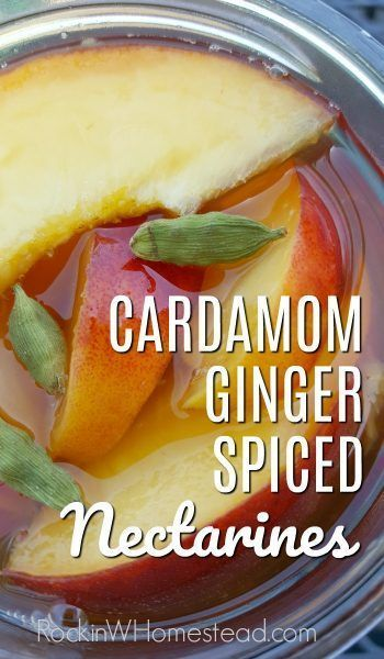 Cardamom Ginger Spiced Nectarines Cardamom Ginger Spiced Nectarines. Take your nectarines and preserve them with a twist! Add cardamom and ginger spices to liven up a batch or two. | Rockin W Homestead