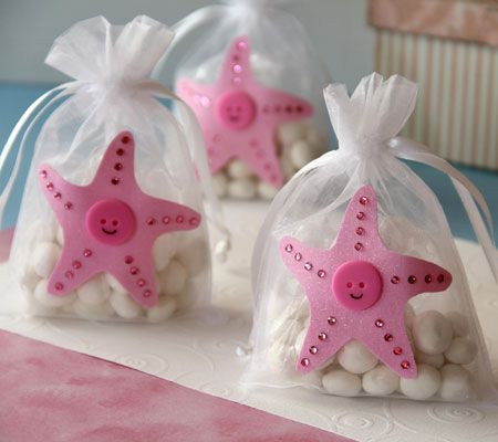 sweet peach starfish favor bags fill with candy little soaps or baby shower gamesbaby shower favorsbaby