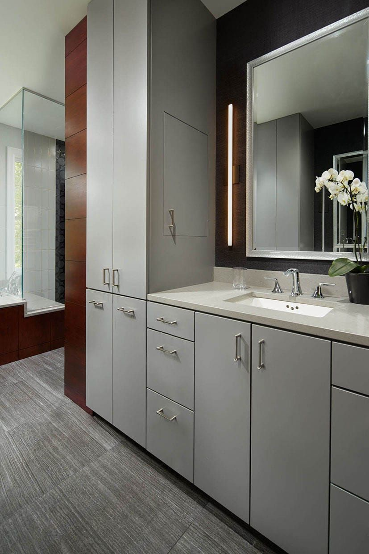 Blissful Master Bath | Grey bathrooms designs, Grey ...