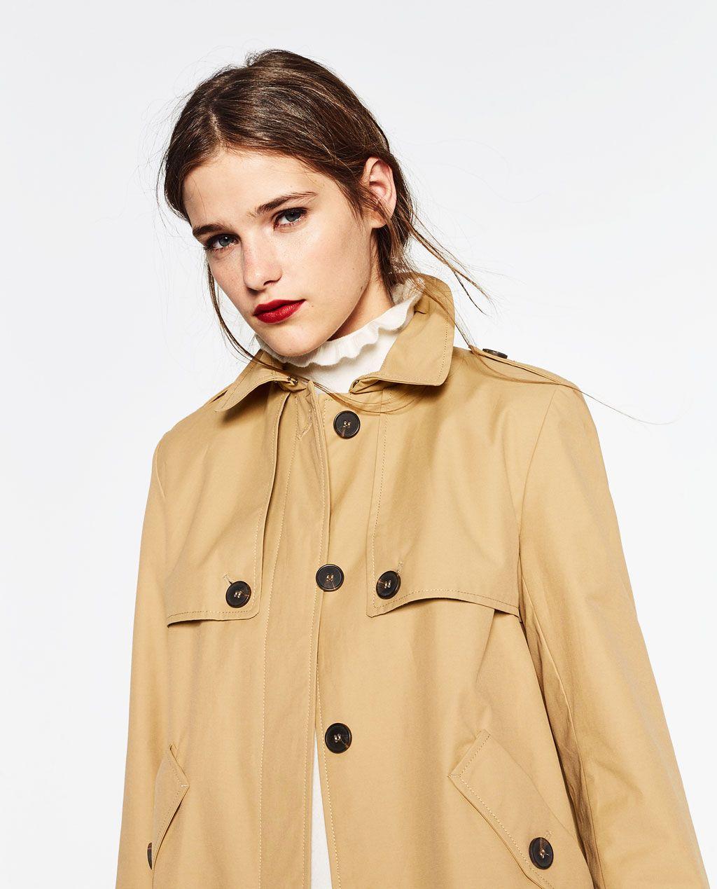 GABARDINA CORTA WATER REPELLENT | Short trench coat, Coat, Zara