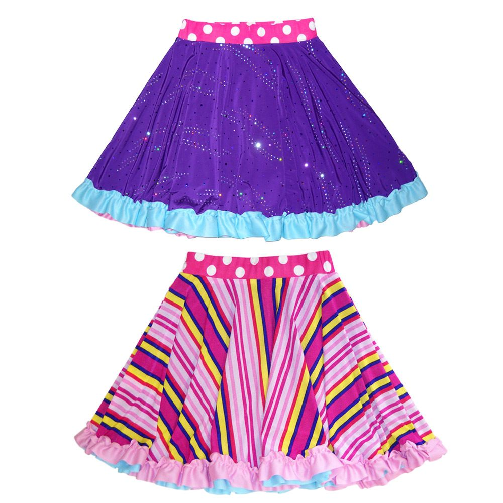 Buy party skirts for girls, reversible & twirly. Fun style to wear dancing. Sparkly purple & pink stripes with ruffle trim. Made in the USA. Free gift wrap.