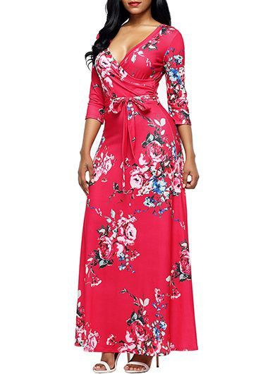 2d2c38a8264f7 Flower Print Rose V Neck Maxi Dress | Rosewe.com - USD $31.44 ...