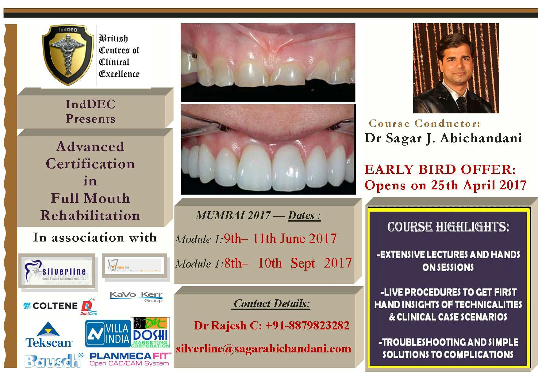 'Advanced Certification in Full mouth rehabilitation ' is coming to Mumbai in 2 modules : early bird registration open tomorrow..!