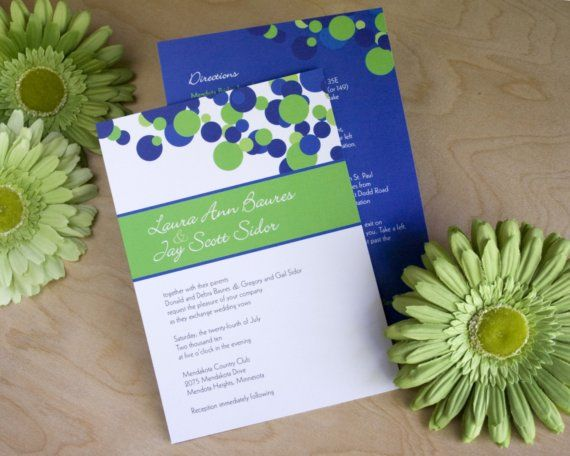 White And Green Wedding Invitations: Wedding Invitations, Polka Dots In Royal Blue, White And
