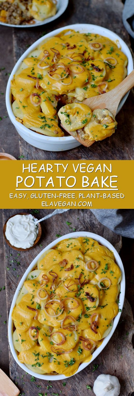 This hearty vegan potato bake with pumpkin and lentils is a great fall recipe. It's a wonderful comfort food and perfect for dinner or lunch. The vegan potato casserole is plant-based, gluten-free and easy to make! #vegan #glutenfree #potatobake #casserole #vegandinner | elavegan.com #fallrecipesdinner