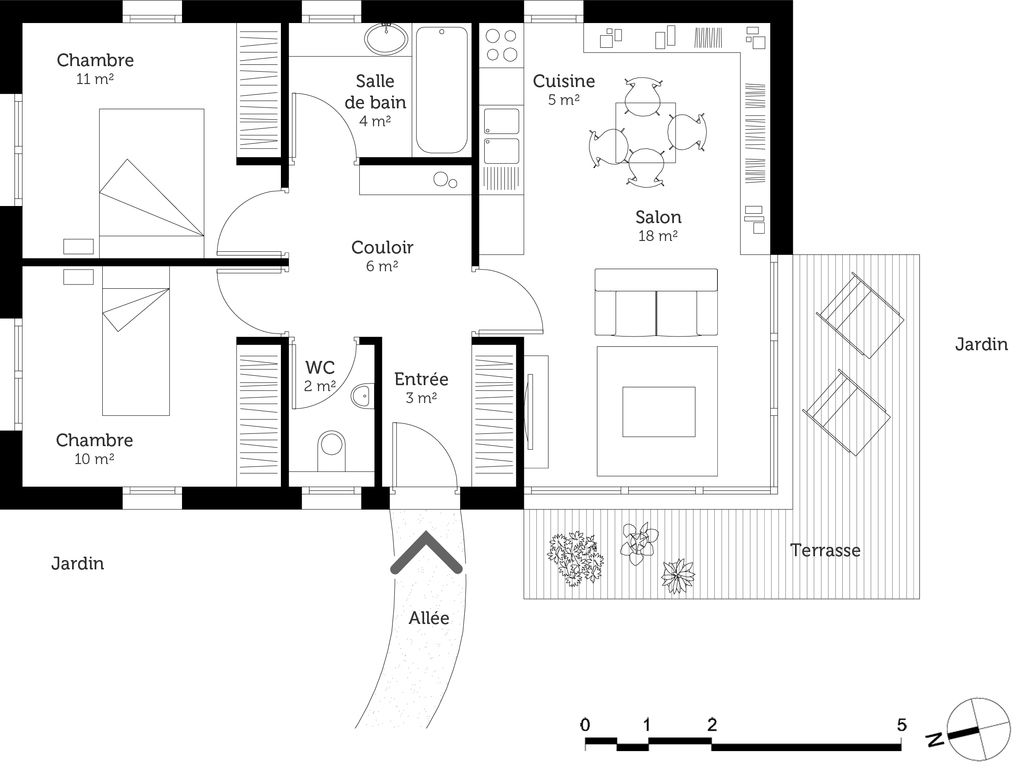 Le Meilleur Plan Maison 60m2 2 Chambres And La Revue In 2021 Construction Plan First Site How To Plan