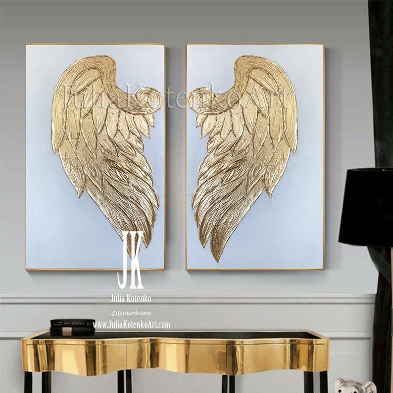 Gold Leaf Painting Angel Wings Wall Decor Oversize Painting Set Of 2 Textured Paintings On Canvas Gold Angel Wings Wall Art By Julia Kotenko In 2020 Angel Wings Wall Decor Angel