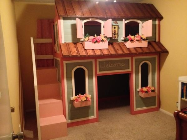 Sweet Pea Bunk Bed Plans Turned Into A Dream For Our Little Girl Do It Yourself Home Projects From Ana White Bunk Bed Plans Playhouse Bed Princess Bunk Beds