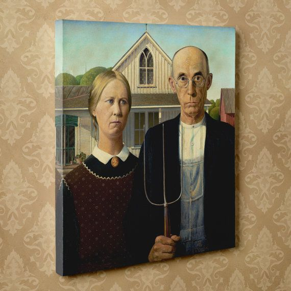 American Gothic By Grant Wood 16 X 20 Canvas Wrap Print American Gothic American Gothic Painting Grant Wood American Gothic