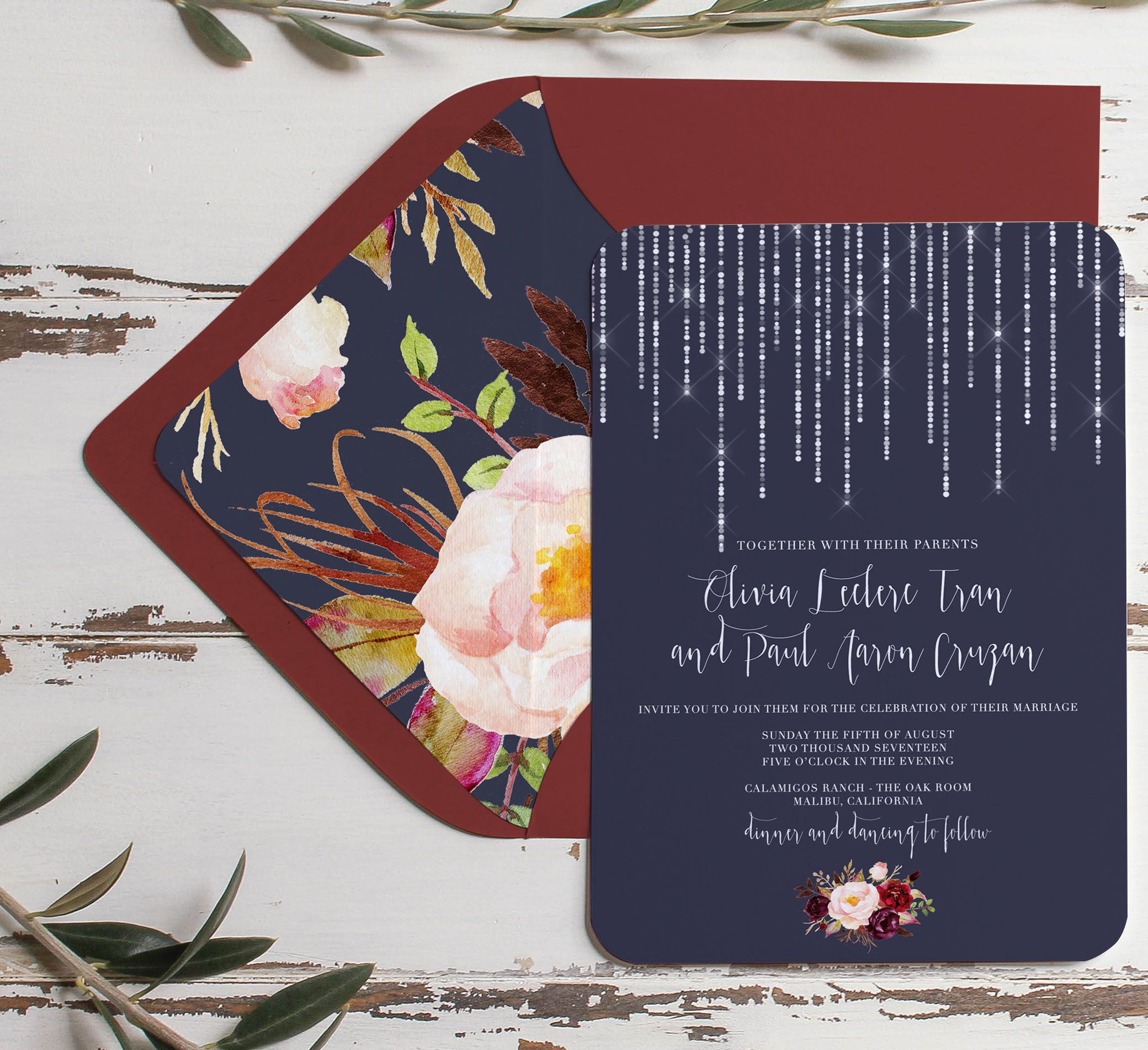 navy and marsala wedding invitation rustic navy
