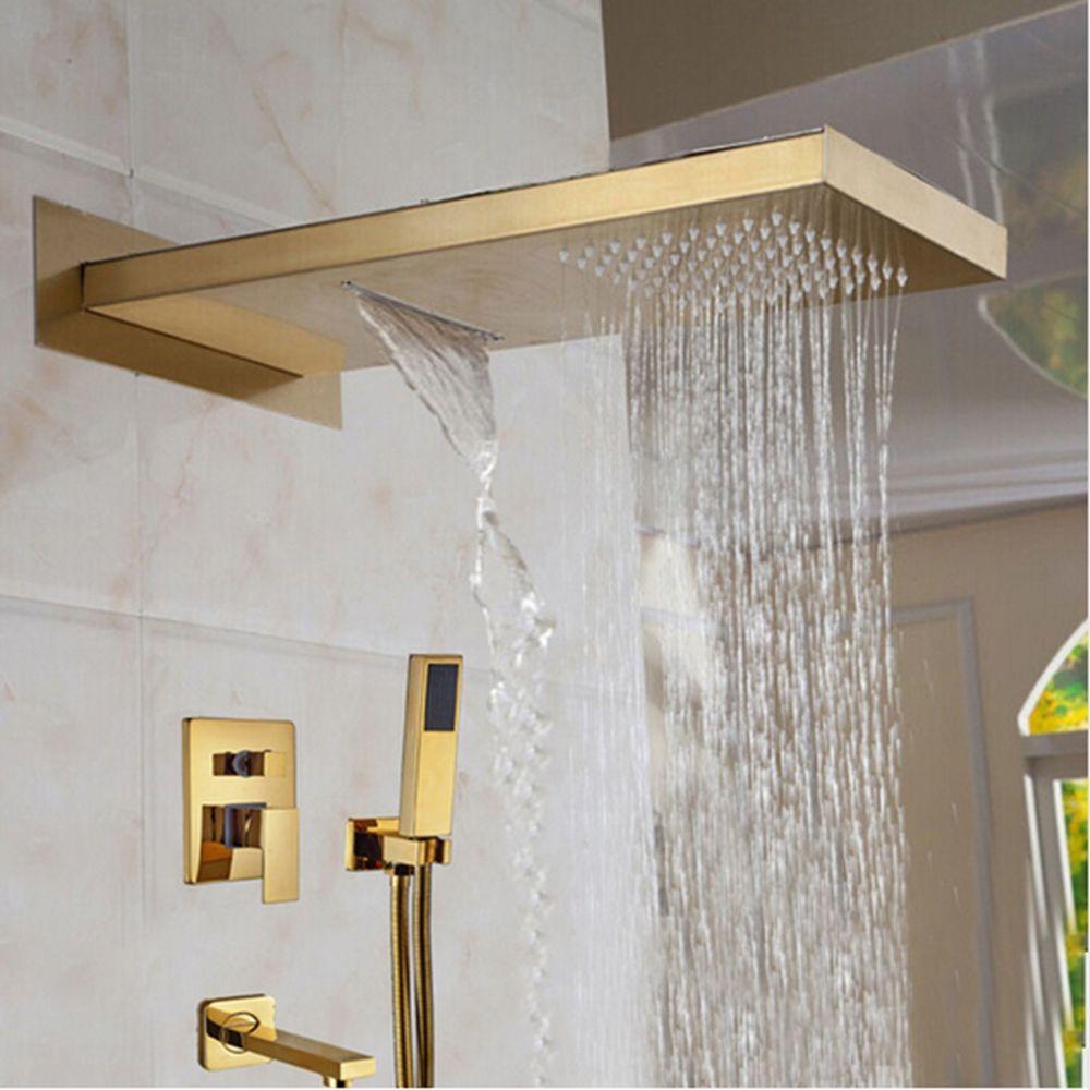 Newly Arrival Golden Shower Head 3 Ways Valve Mixer Rainfall & Waterfall Shower Faucet