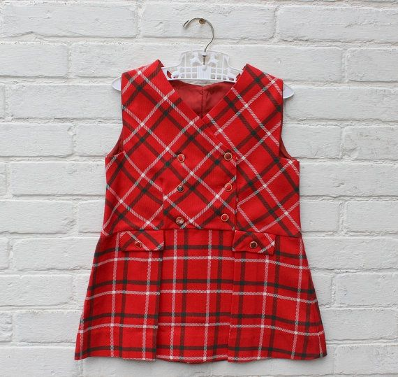 French Vintage 60 S Kids Pleated Dress Red Plaid Fabric New Old Stock Size 3 Years Tenue Vintage Vetements Vintage Automne Hiver