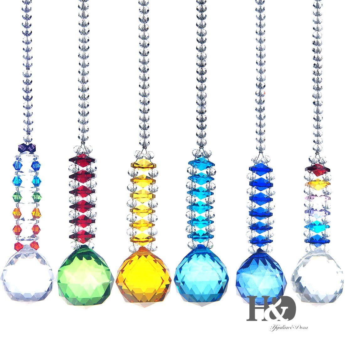 Set of 6 Feng Shui Hanging Crystal Suncatcher Chakra Beads Prism Pendant Decor