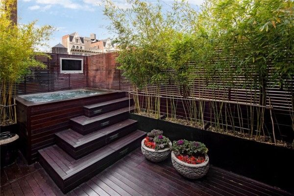 Ambiance Trendy Outdoor Wood Patio Designs With Rectangular Outdoor Jacuzzi  And Wooden Privacy Screen Ideas Also