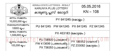 KARUNYA PLUS LOTTERY TICKET NEW RESULT SINGLE PAGE PRINT