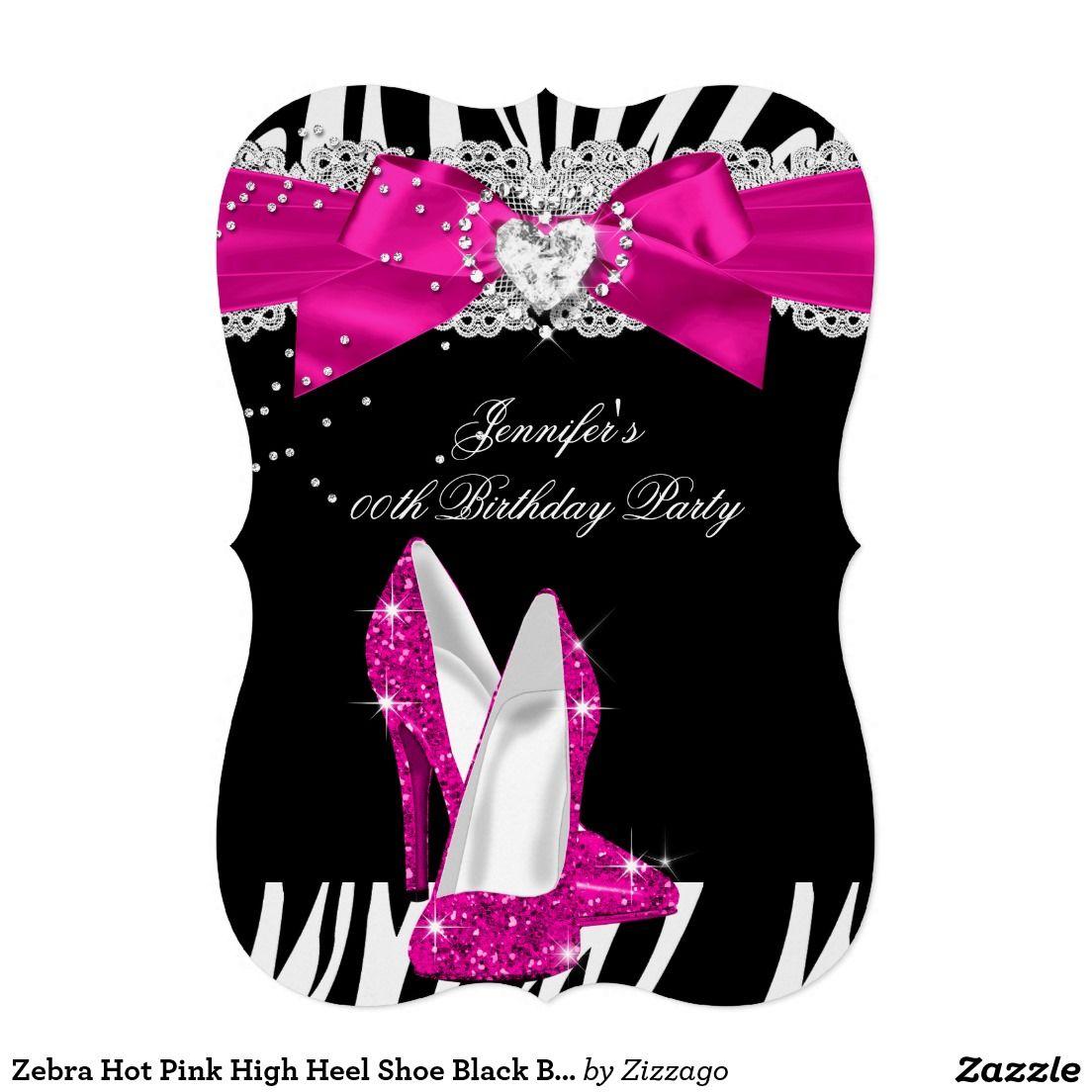 Zebra Hot Pink High Heel Shoe Black Birthday 4 Card Pink high