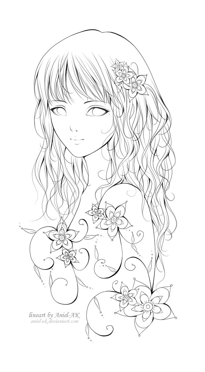 Neola:. lineart by *Aniel-AK on deviantART - chica, flores | bordado ...