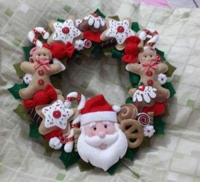 20 ideas de manualidades de navidad con fieltro - Manualidades con fieltro para navidad ...
