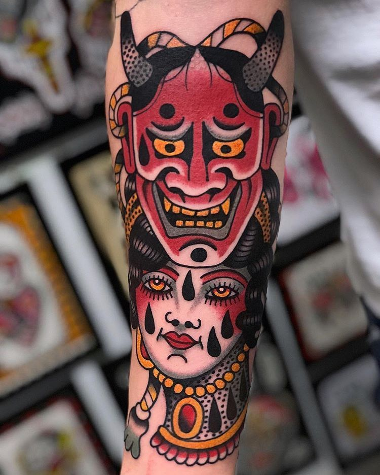 Tattoo By Genotattoo Traditional Traditionaltattoo Traditionalartist Oldta Japanese Tattoo Japanese Demon Tattoo Traditional Japanese Tattoos