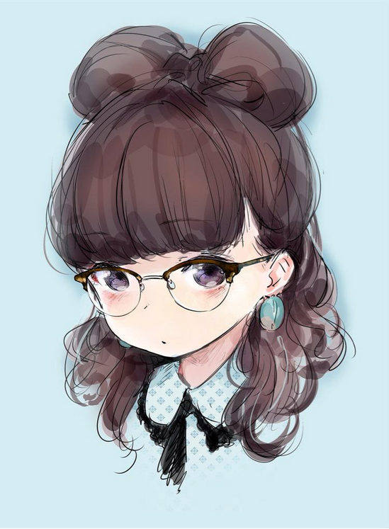 Anime Art Pretty Girl Glasses Hair Bow Hair Style