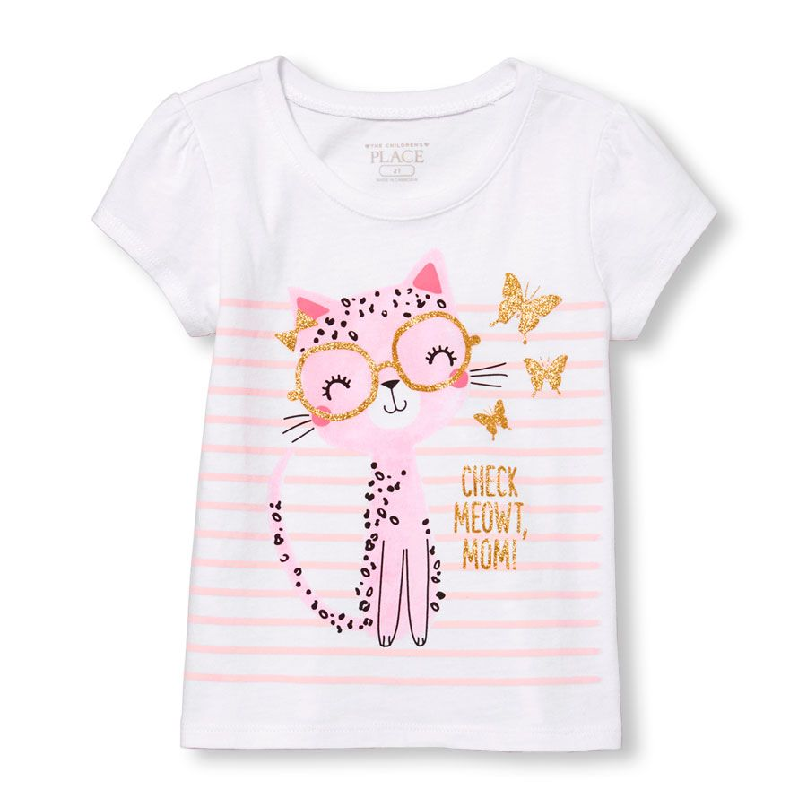 Toddler Girls Short Sleeve Glitter Check Meowt Mom Cat Graphic