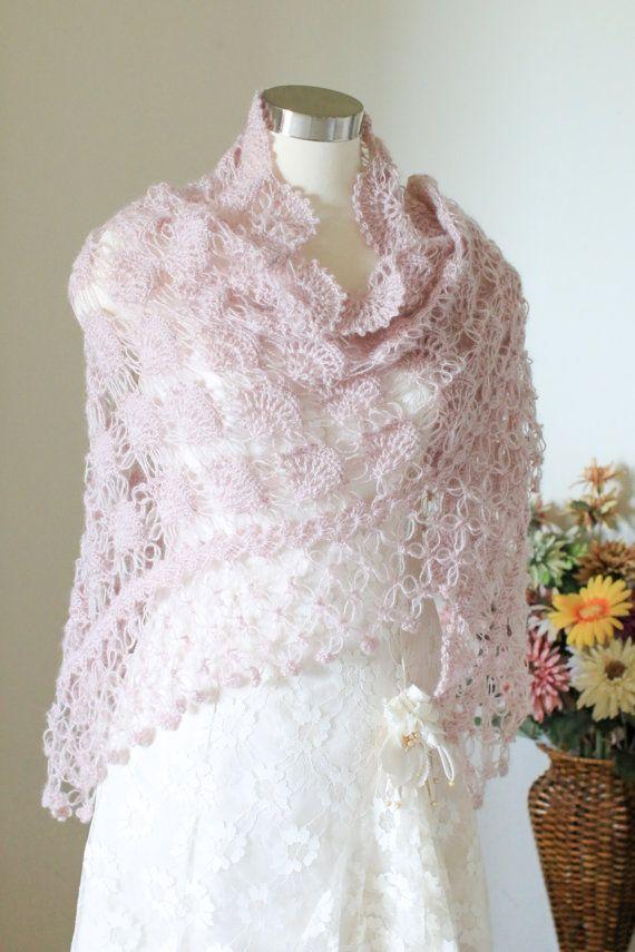 Wedding Shrug Bolero Crochet Shawl Wrap Triangle Shawl Bridesmaid Shawl Wedding Shawl Bridal Shawl Pink Cover Up
