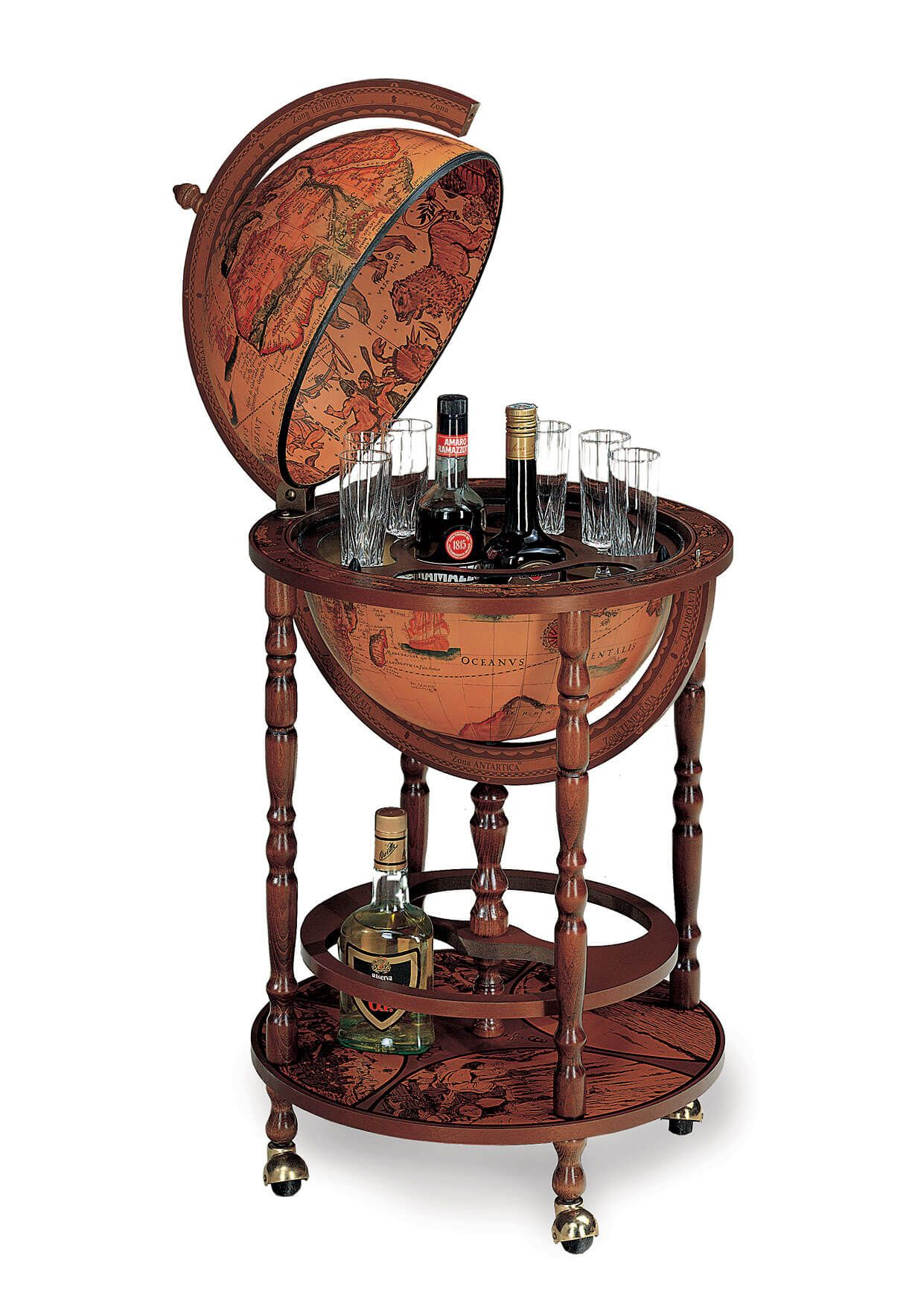 Columbus Brown Globe Bar With Antique Globe Ball Globe Drinks Cabinet Globe Bar Classic Bar