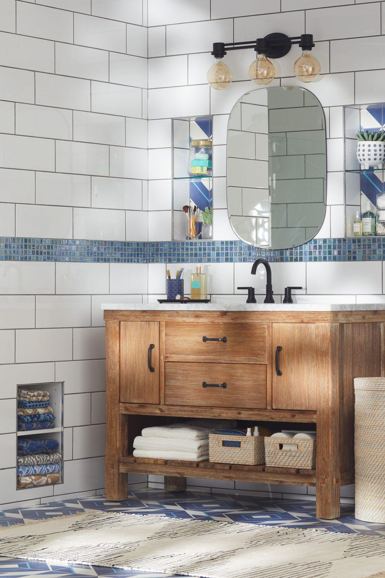 28 Towel Display Ideas For Pretty And Practical Bathroom Storage In 2020 Best Bathroom Flooring Bathroom Tile Designs Tile Bathroom