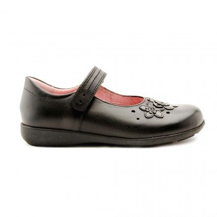 Fleur, Black Leather Riptape Girls School Shoes - Girls - School Shoes http://www.startriteshoes.com/school-shoes/
