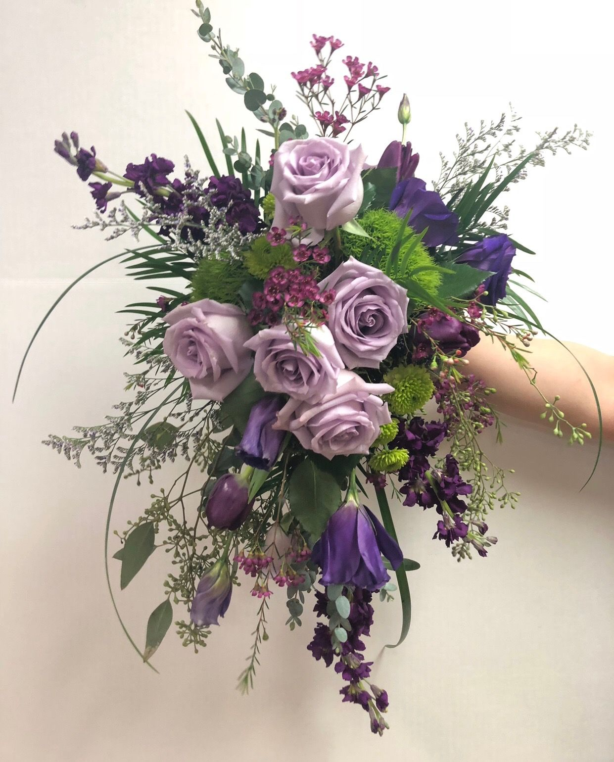 Twigs Vines Original Design Cascade Style Bouquet Made In An Oasis Bouquet Holder Groupings Of Lavender Roses Pur Wax Flowers Lavender Roses Bouquet Holder