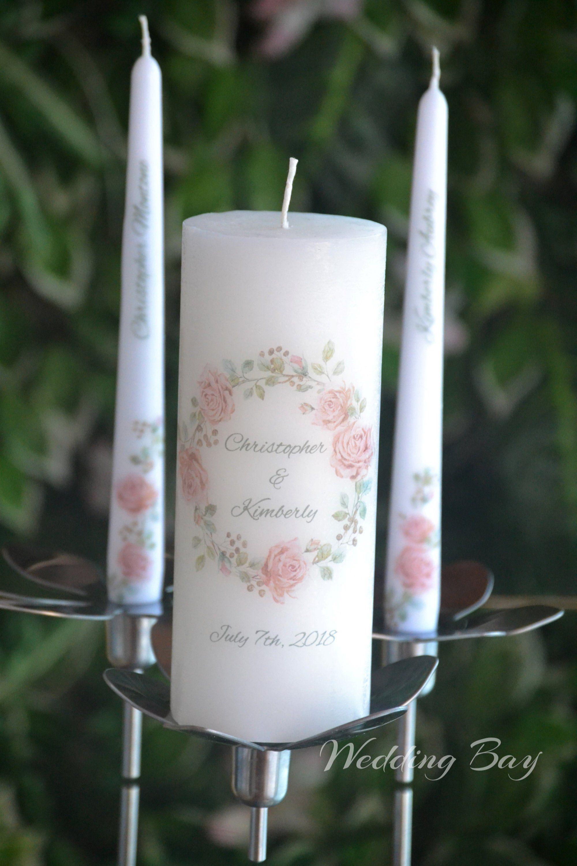 Wedding Candle Set Custom Wedding Unity Candle Watercolor Wedding Candles Floral Weddi Wedding Candle Set Personalised Wedding Candles Candles Wedding Ceremony