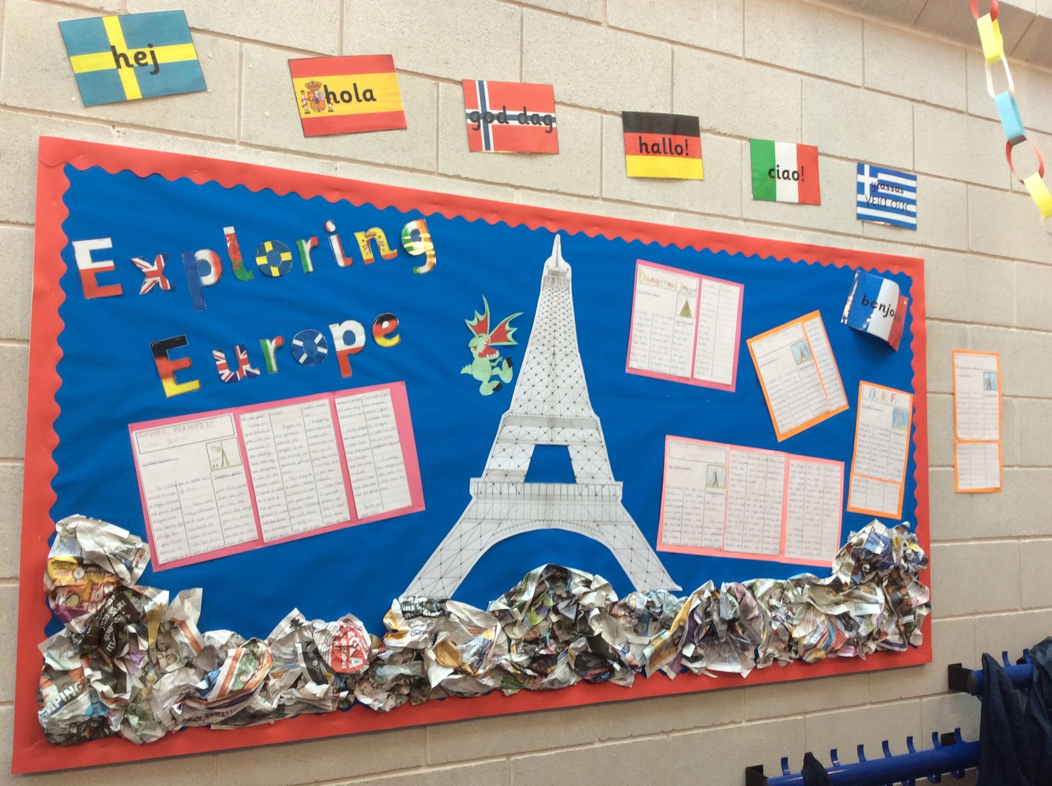 Exploring europe corridor display linked to the book how to train linked to the book how to train your dragon children wrote newspaper reports about the dragon falling off the eiffel tower ccuart Choice Image