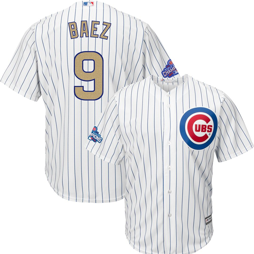 59be3368c Javier Baez Chicago Cubs 2017 Gold Program Cool Base Youth Jersey   ChicagoCubs  Cubs  FlyTheW  MLB  ThatsCub  JavierBaez