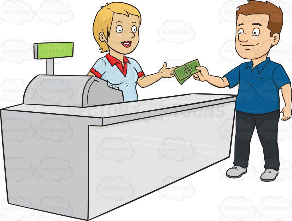Cashier Cartoons: A Man Paying The Cashier One Thousand Dollars