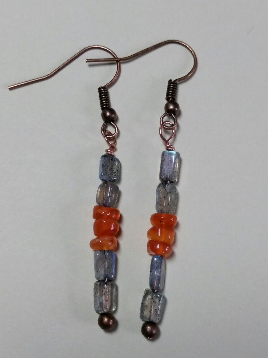 Labradorite and Carnelian copper earrings at ShimmeringSparkles4U, Etsy.