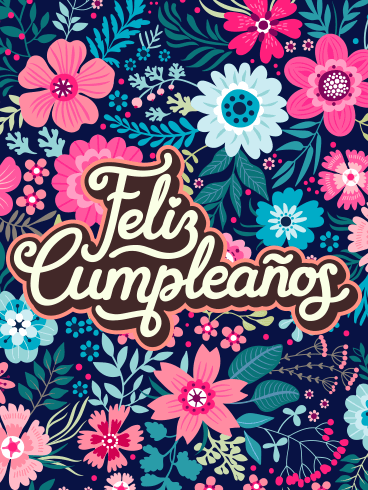 Flower Happy Birthday Card In Spanish