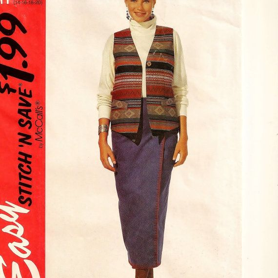A Midi-Length, Straight Front Wrap Skirt and Welt-Trimmed, Buttoned Vest Pattern